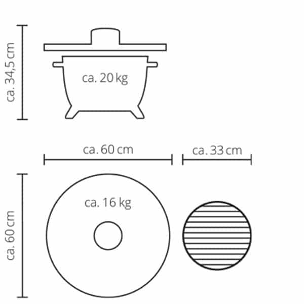 medidas diametro kamado monolith icon